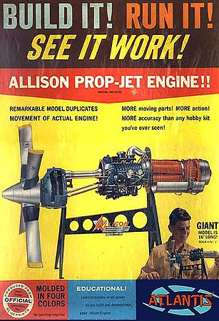 Atlantis 1/10 Allison Turboprop Engine w/Moving Parts & Stand (formerly Revell)