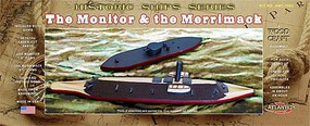 Atlantis USS Monitor (6''L) & Merrimack (9.5''L) Ironclad Ships (Basswood Kits)