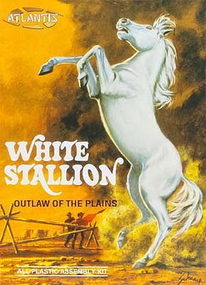 Atlantis Model Company White Stallion Horse -- Plastic Model Animal Kit -- 1/12 Scale -- #amc-2001