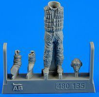 Aerobonus WWII German Luftwaffe Pilot w/Life Jacket Plastic Model Aircraft Accessory 1/48 #480135