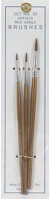 Atlas Brush Co. Red Sable 3pc Brush Set 1-3-5