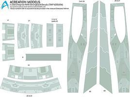 Acreation Star Trek USS Enterprise NCC1701A Refit (TMP) Plastic Model Spaceship Decals 1/350 #128