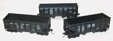 Accurail 55-Ton Panel-Side Two-Bay Hopper 3-Pack - Kit -- HO Scale Freight Car -- #1205