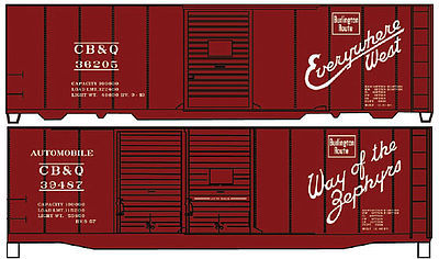 Accurail 40' Steel Boxcar CB&Q (2) -- HO Scale Model Train Freight Car Kit -- #1223