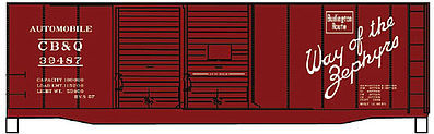 Accurail 40' Steel Double Door Boxcar CB&Q -- HO Scale Model Train Freight Car Kit -- #12232