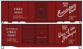 Accurail 40 Steel Boxcar CB&Q (2) HO Scale Model Train Freight Car Kit #1223