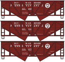 Accurail Wood-Side Twin Hopper PRR (3 pack) HO Scale Model Train Freight Car Set Kit #1224