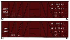 Accurail 40 Wood Boxcar 2 Set Norfolk & Western HO Scale Model Train Freight Car #1228