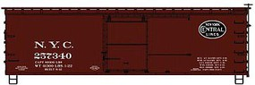 Accurail 36' Double-Sheathed Wood Boxcar, Steel Roof, Ends, Fishbelly Underframe Ki New York Central, 257340 (Boxcar Red, black Lines Logo)