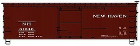 Accurail 36' Double Sheathed Wood Boxcar w/Steel Roof, Ends, Straight Underframe New Haven