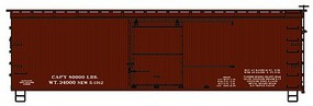 Accurail 36 Double Sheathed Wood Boxcar w/Steel Roof, Ends, Straight Underframe Data only (Oxide)