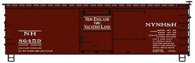 Accurail 36 Double Sheathed Wood Boxcar w/Steel Roof, Wood Ends, Straight Underframe New Haven