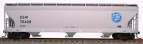 47' 3-Bay Center Flow Covered Hopper Kit Cotton Belt HO Scale Model Train Freight Car #2076