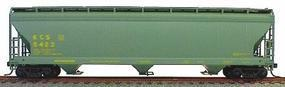 47' 3-Bay Covered Hopper Kansas City Southern HO Scale Model Train Freight Car #2077