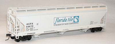 Accurail 47' 3-Bay Center-Flow Covered Hopper Florida Tile ACFX -- HO Scale Model Train Freight Car -- #2094