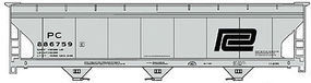 Accurail ACF 3-Bay Hopper Penn Central Kit (gray) HO Scale Model Train Freight Car #2100