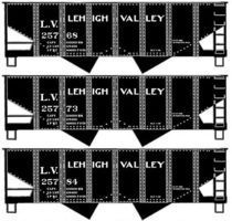 Accurail USRA 55-Ton 2-Bay Open Hopper 3-Pack Kit Lehigh Valley HO Scale Model Train Freight Car #25774
