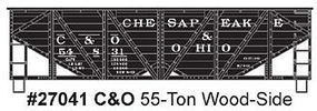 Accurail 55-Ton Wood-Side Twin Hopper Chesapeake & Ohio #54831 HO Scale Model Train Freight Car #27041