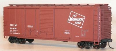 Accurail 40' Combination Door Steel Boxcar Kit Milwaukee Road -- HO Scale Model Train Freight Car -- #3804