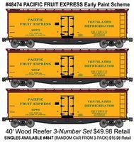 Accurail 40 Wood Reefer 3-Pack - Kit - Pacific Fruit Express HO Scale Model Train Freight Car #48474