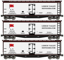Accurail 40 Wood Reefer Lehigh Valley HO Scale Model Train Freight Car Set #48494