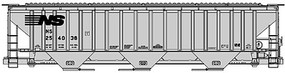 Accurail Pullman-Standard 4750 3-Bay Covered Hopper Kit Norfolk Southern