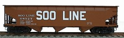 Accurail 70-Ton Offset-Side 3-Bay Hopper Soo Line (Mineral Red) -- HO Scale Model Train Freight Car -- #7506