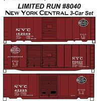 Accurail 40 Steel Boxcar 3-Car Set - Kit - New York Central HO Scale Model Train Freight Car #8040