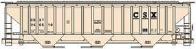 Accurail 3-Bay Covered Hopper 3-Pack - Kit - CSX (beige, black) HO Scale Model Train Freight Car #8051