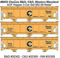 Accurail 47' 3-Bay Center-Flow Covered Hopper (3) Chessie System HO Scale Model Train Freight Car #8053