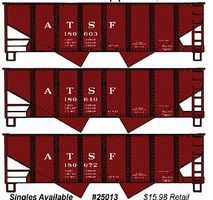 Accurail 55-Ton 2-Bay Open Hopper 3-Pack Kit Santa Fe HO Scale Model Train Freight Car #8056