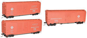 Accurail AAR 40 Sliding-Door Boxcar 3-Pack Kit Pennsylvania RR HO Scale Model Train Freight Car #8057