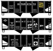 Accurail USRA 55-Ton 2-Bay Open Hopper 3-Pack - Kit One Each- Montour, Interstate, Pennsylvania Railroad (Coal Goes to War)