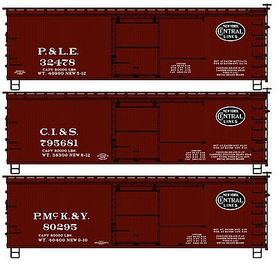 Accurail 36' Wood Boxcar 3-Pack - Kit -- New York Central