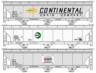Accurail ACF 47' 3-Bay Center-Flow Covered Hopper 3-Pack - Kit -- One Each- Continental Grain, Cargill, Co-Op