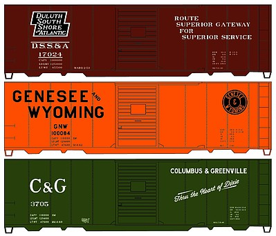 Accurail 40 Steel Boxcar 3-Pack - Kit 1 Each- Genessee & Wyoming, Duluth South Shore& Atlantic, Columbus & Greenvi