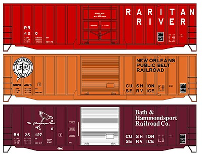 50 Exterior-Post Boxcar 3-Pack - Kit One Each- Raritan River, New Orleans Public Belt, Bath & Hammondsport