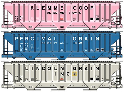 Accurail Pullman-Standard 4750 3-Bay Covered Hopper 3-Pack - Kit -- One Each- Klemme Co-Op, Percival Grain, Lincoln Grain