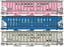 Accurail Pullman-Standard 4750 3-Bay Covered Hopper 3-Pack - Kit One Each- Klemme Co-Op, Percival Grain, Lincoln Grain