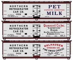 Accurail 40 Wood Reefer 3-Pack - Kit Assorted Dairy Billboard Schemes