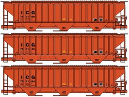 Accurail Pullman-Standard 4750 3-Bay Covered Hopper 3-Pack Kit Illinois Central Gulf (Simplified Scheme)