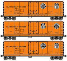 Accurail 40 Steel Reefer Pacific Fruit Express (Set of 3) HO Scale Model Train Freight Car Set #85049