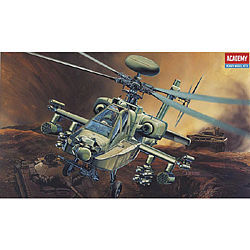 Academy Plastics AH64D Apache US Helicopter -- Plastic Model Helicopter Kit -- 1/48 Scale -- #12268
