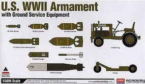 Academy US WWII Armament with Ground Service Equipment Plastic Model Airplane Kit 1/48 Scale #12291