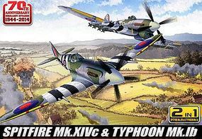 Academy Spitfire Mk XIVc & Typhoon Mk Ib Aircraft Plastic Model Airplane Kit 1/72 Scale #12512