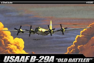 Academy Plastics B29A Old Battler USAAF Aircraft -- Plastic Model Airplane Kit -- 1/72 Scale -- #12517