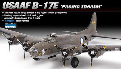 Academy B-17E USAAF Pacific Theater Plastic Model Airplane Kit 1/72 Scale #12533