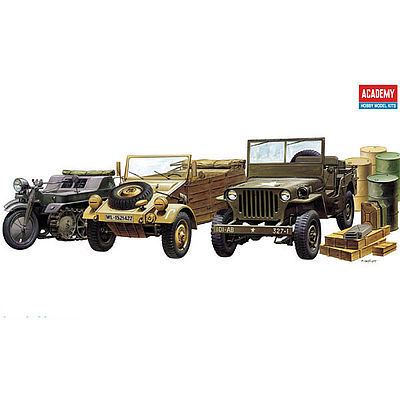 Academy Plastics WWII Vehicle Set (3) -- Plastic Model Military Vehicle Kit -- 1/72 -- #1310