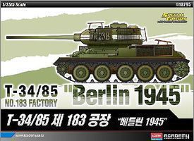 Academy T-34/85 No.183 Factory Berlin 1945 Plastic Model Military Vehicle Kit 1/35 Scale #13295