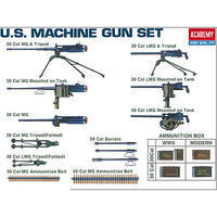 Academy US WWII Machine Gun Set Plastic Model Military Weapon 1/35 Scale #1384